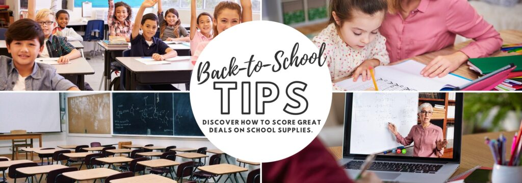 Back to school tips. Discover how to score great deals on school supplies.