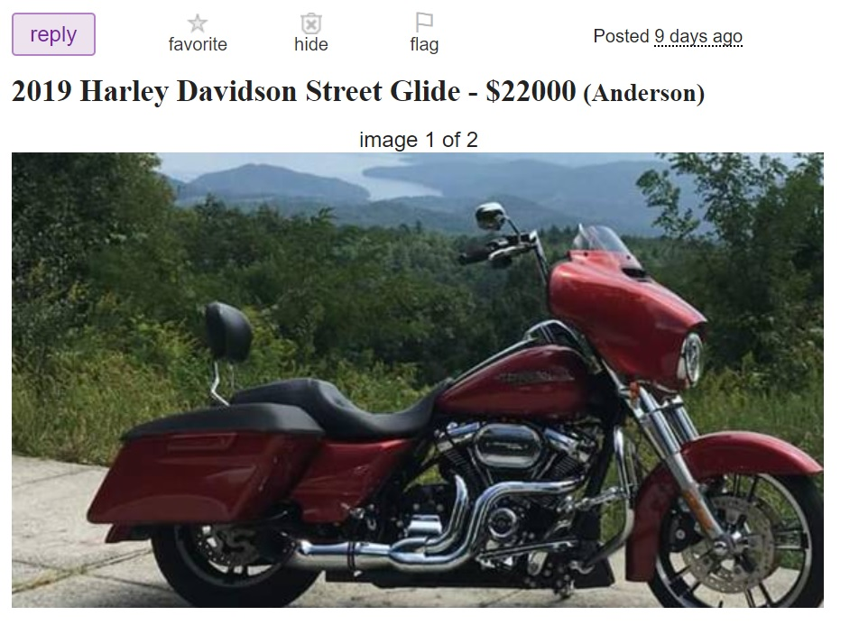 A motorcycle for sale by owner to help create income during a season of job loss