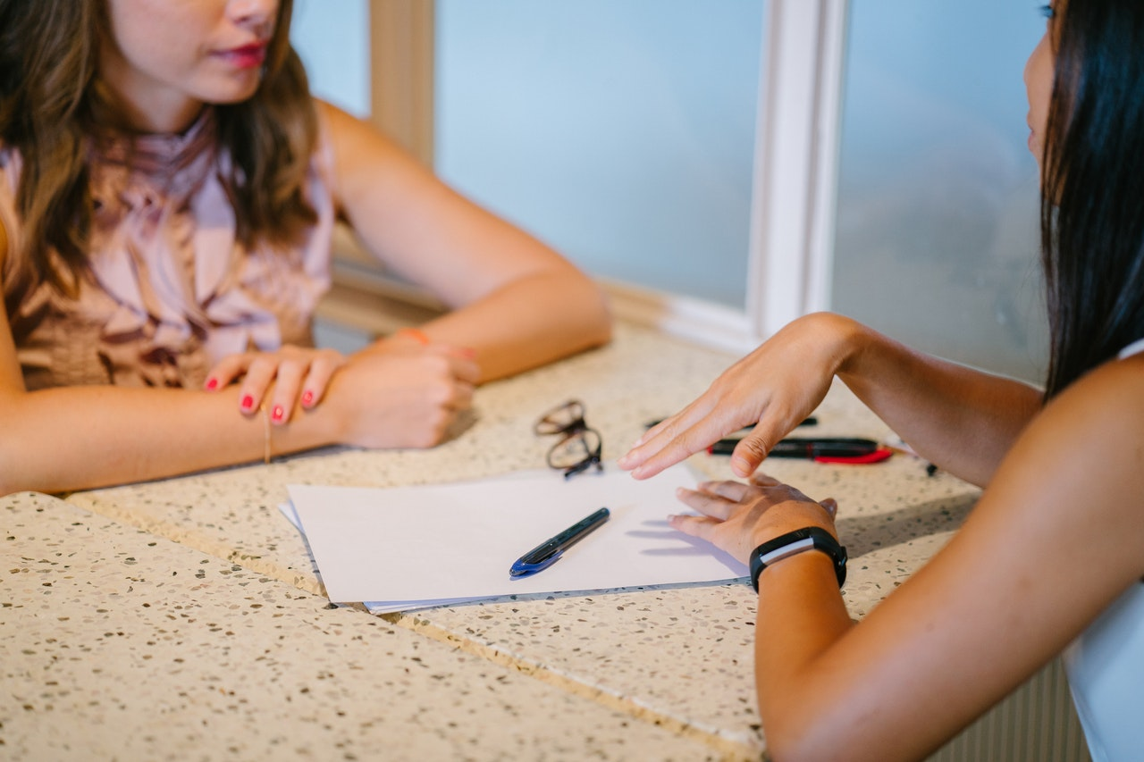 Meeting with a financial counselor to help plan during a season of job loss