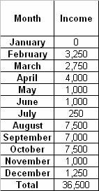 Chart of irregular monthly income showing the amount earned each month of the year
